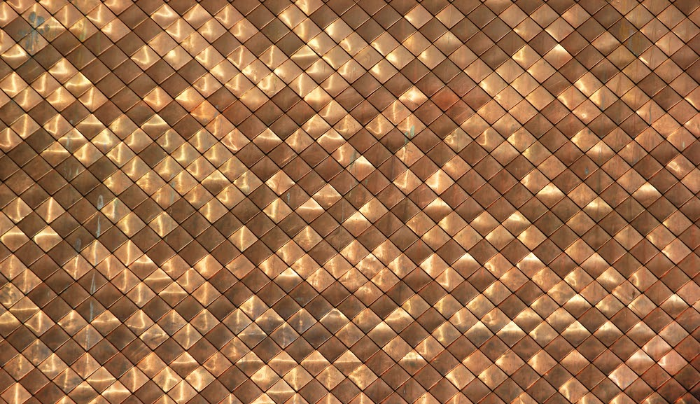 Shiny dirty copper roofing pattern background